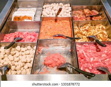Butcher shops in the market.