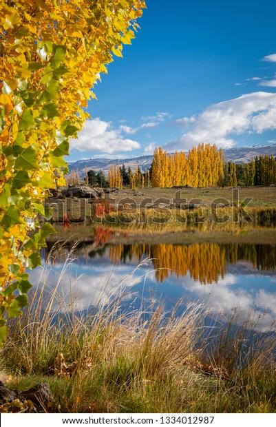 Butchers Dam in autumn. Otago, New Zealand.