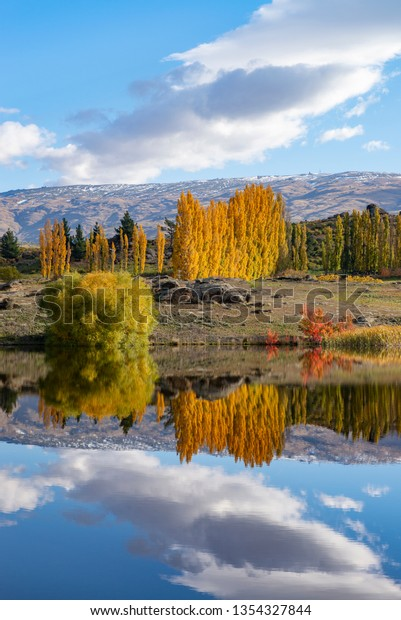 Butchers Dam in autumn. Otago, New Zealand