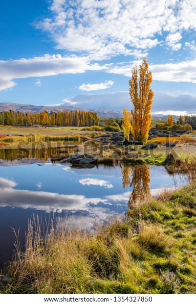 Butchers Dam in autumn. Otago, New Zealand