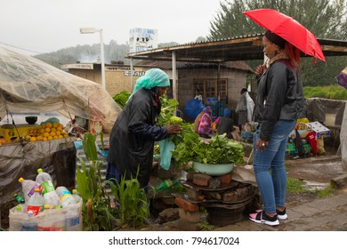 Butha Buthe, Lesotho, 12/21/2017 Lesotho is a poor country.  Many people run stalls on streets where they sell their home grown products to make a living.