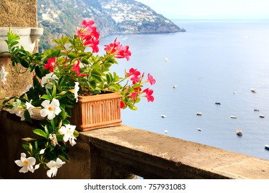 Butiful flowers in the pot on the balcony with the sea and mountains view in Positano, Amalfi coast, Italy
