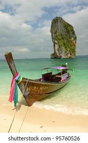 Butiful Thailand, Long tail Boat in Rai Lay Beach ,south of Thailand