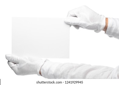 Butler or concierge hand holding blank note. Horizontal format arm with hand outstretched from right side isolated on white.