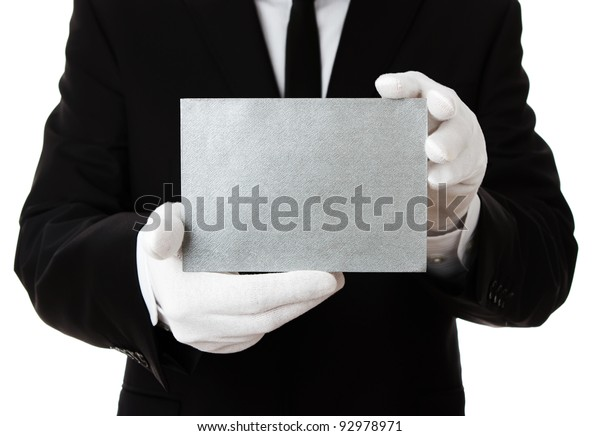 Butler Holding Blank Silver Invitation Card Stock Image