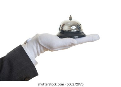 Butler service bell on white background