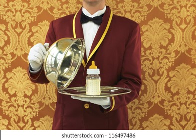 Butler with Silver Tray and Bottle of Milk