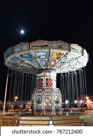 Butlins Bognor holiday vintage fairground at night