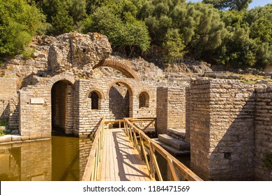 Butrint, Albania- 29 June 2014: Ruins of the temple of Asclepius. Butrint, ancient Greek and later Roman city and bishopric in Epirus.