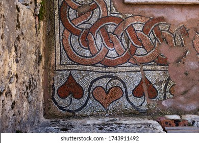 Butrint/ Albania October 12, 2019. Mosaic of the ancient Baptistery dated from the 6th century in Butrint National Park.