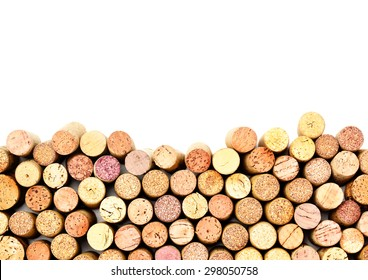 Butt ends of wine corks with copy space