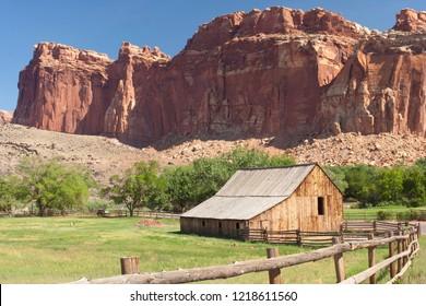 Butte behind ranch house near Grafton, Utah