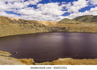 BUTTE, MONTANA, USA - CIRCA AUGUST 2004: The Berkeley Pit mine, filled with water, at 5,610 feet elevation.