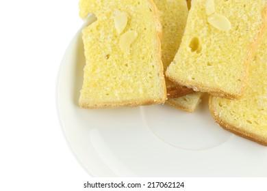 butter bake bread on white dish.