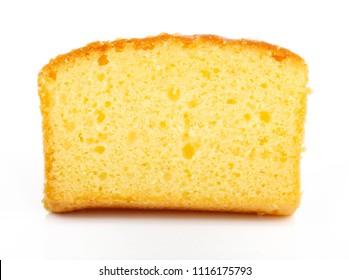 Butter cake sliced on white background