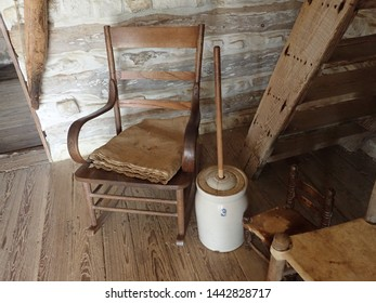 Butter churn and rocking chair