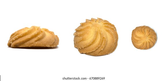 Butter cookie in different views, front view, and top view isolated on white background