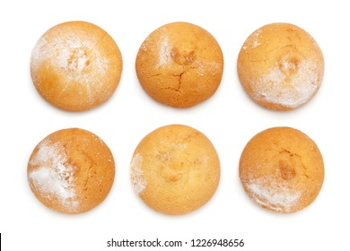 Butter cookies biscuit round shape sprinkled with powdered sugar isolated on a white background. Flat lay, top view