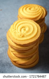 Butter cookies on a stone table.