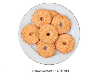 Butter cookies on white plate