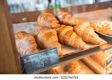 Butter Croissant and bread and bun on shelf show for sale