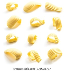 Butter curl isolated on white background. Clipping path included.