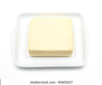 butter dish on white background