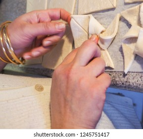 Butter dough making by female hands at home