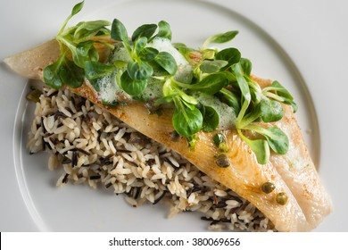 Butter fish filllet with wild rice