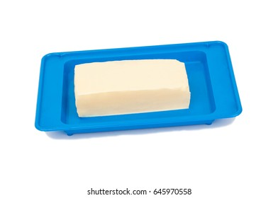 Butter on a blue plate
