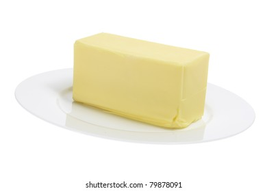 Butter on Plate with White Background
