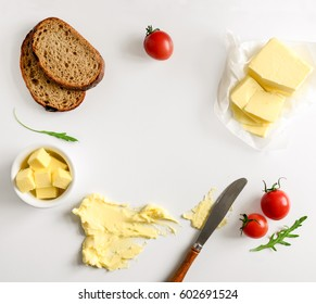 Butter, spread or margarine product background with a space for a text, flat lay, view from above