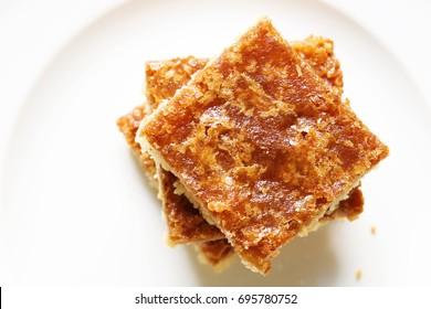Butter Tart Square on White Plate