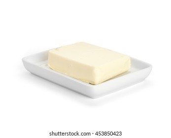 butter in white ceramic butter-dish on white background