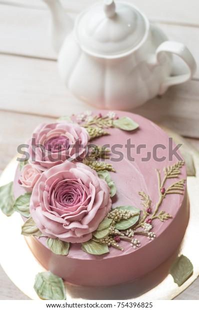 Terrific Buttercream Flower Cake Happy Birthday Cake Stock Photo Edit Now Funny Birthday Cards Online Barepcheapnameinfo