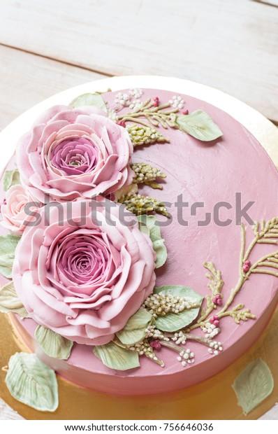 Miraculous Buttercream Flower Cake Happy Birthday Cake Stock Photo Edit Now Personalised Birthday Cards Veneteletsinfo