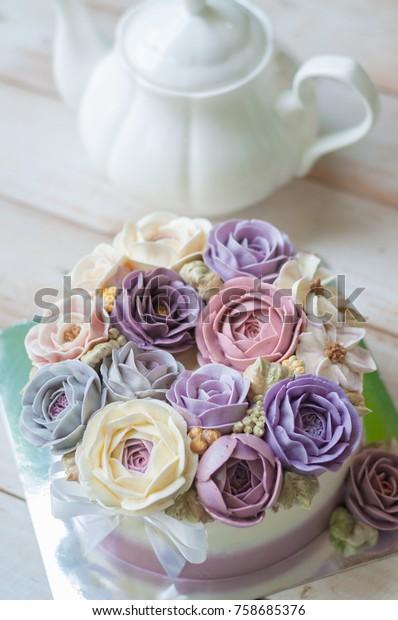 Prime Buttercream Flower Cake Happy Birthday Cake Stock Photo Edit Now Funny Birthday Cards Online Barepcheapnameinfo