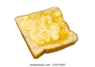 Buttered toast on isolated from white background.