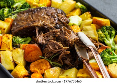 Butterflied beef with roasted vegetables