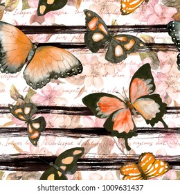 Butterflies and flowers at monochrome striped background with hand written text. Repeating floral background. Watercolor with black stripes