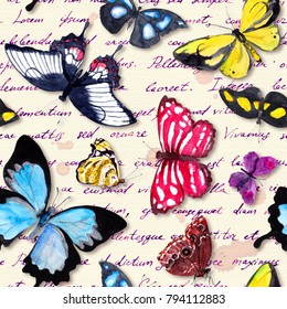 Butterflies and hand written text note. Seamless pattern with exotic butterfly. Watercolor