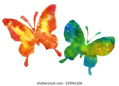 Butterflies on a white background. Watercolor.