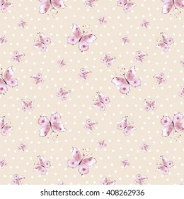 Butterflies and pale polka dot background. Watercolor. Ditsy seamless pattern