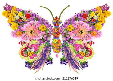 Butterfly  abstract collage made from fresh summer flowers. Isolated