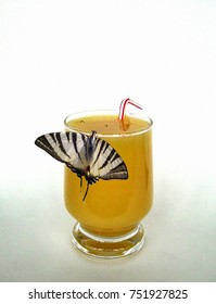 butterfly drinking a juice (collage)