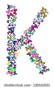 Butterfly font in white. Letter K