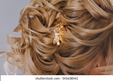 Butterfly hair clip accessory decoration on beautiful hairstyle