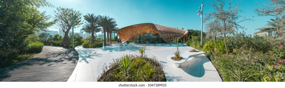 Butterfly Island, Sharjah, United Arab Emirates - Feb.2, 2018:  Exhibition pavilion center in the park. Panorama.