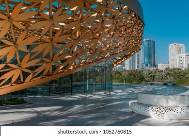 Butterfly Island, Sharjah, United Arab Emirates - Feb.2, 2018: Recreation Area in Front of the Main Entrance to the Charming Exhibition Pavilion of Butterflies