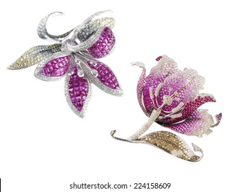 Butterfly, Leaf and flower brooch on white background